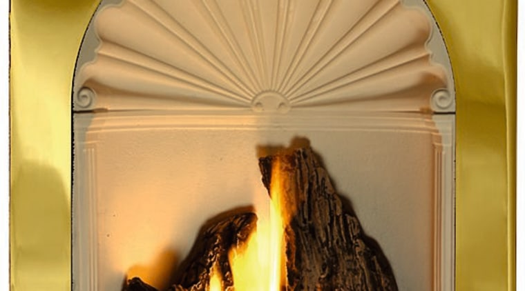 A gas fireplace arch, hearth, heat, orange
