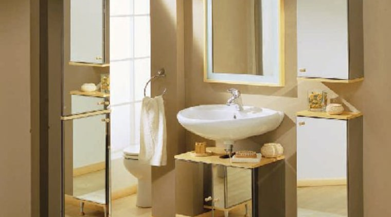 A bathroom with an original concept bathroom, bathroom accessory, bathroom cabinet, floor, flooring, interior design, plumbing fixture, product design, sink, brown, white