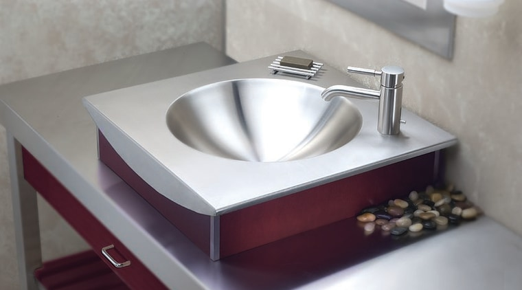 View of this stainless-steel hand basin bathroom sink, ceramic, plumbing fixture, product design, sink, tap, gray