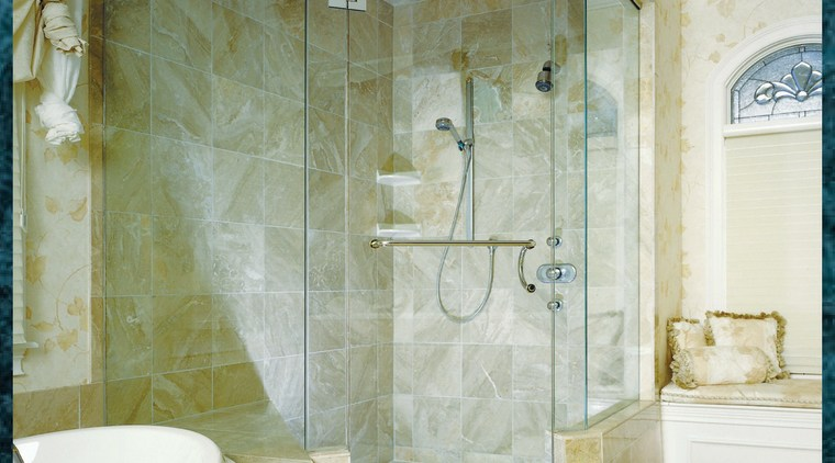 A large & interesting shower bathroom, ceiling, floor, flooring, glass, interior design, plumbing fixture, room, tile, wall, green