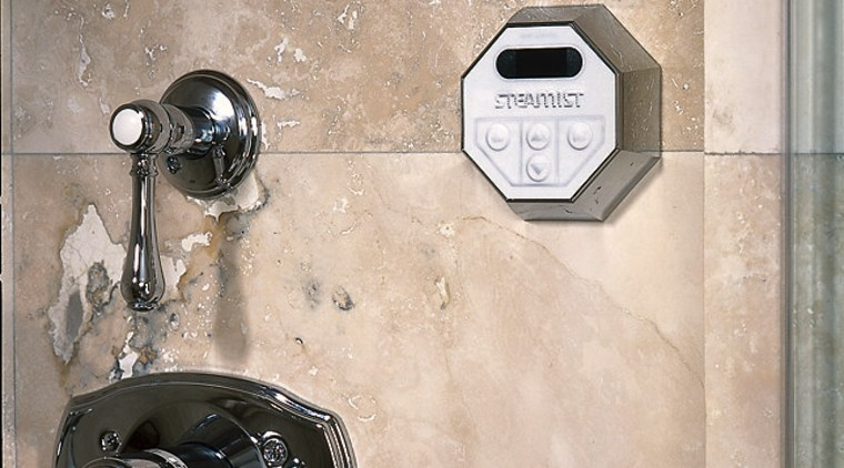 View of the Steamist water temperature remote product design, wall, gray