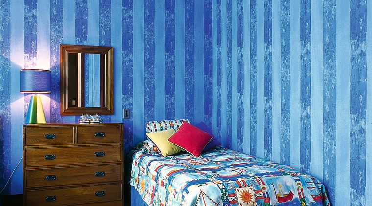 Bright, Colourful bedroom bed, bed frame, bed sheet, bedding, bedroom, blue, ceiling, curtain, duvet cover, home, interior design, linens, product, purple, room, textile, wall, wallpaper, window, window covering, window treatment, teal, blue