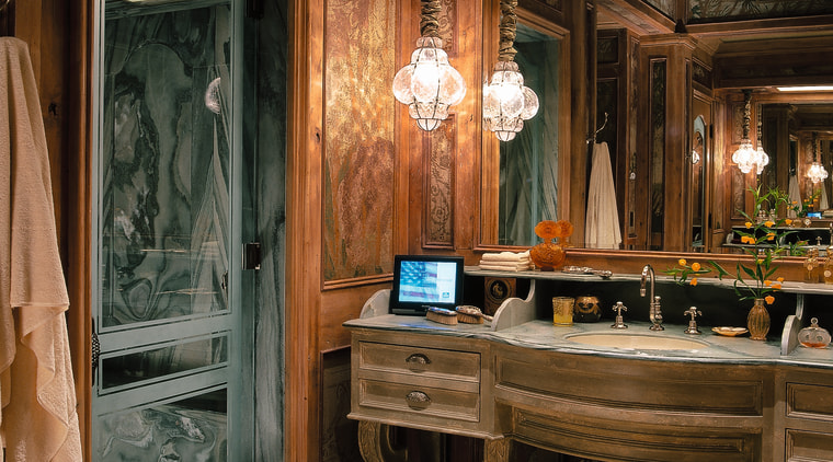 View of the luxury bathroom furniture, interior design, wood, brown, black