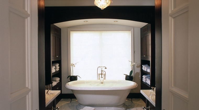art deco bathroom with traditional bath bathroom, bathroom accessory, ceiling, home, interior design, light fixture, plumbing fixture, room, sink, gray