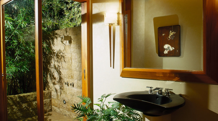 powder room with outdoor shower bathroom, ceiling, home, house, interior design, real estate, room, window, brown