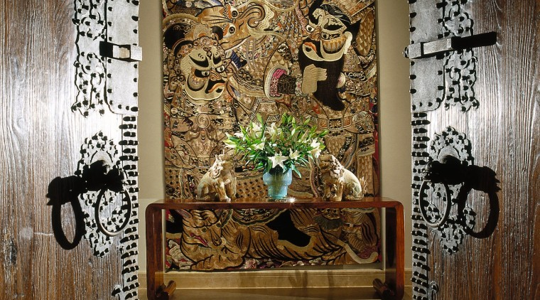 Antique studded Chinese doors and silk tapestry from art, interior design, wall, brown