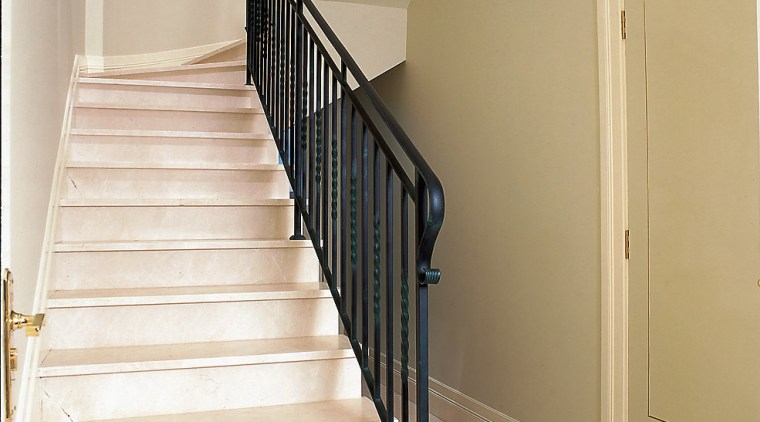 First Quality Crema Marfil stairs from N& F baluster, floor, flooring, handrail, home, house, property, real estate, stairs, wall, white