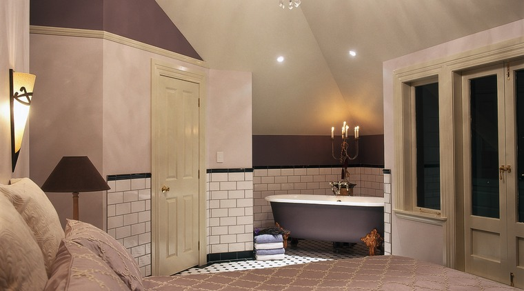 master guest suite featuring Kohler Cleo claw-foot bath ceiling, daylighting, estate, floor, flooring, home, interior design, lobby, real estate, room, wall, brown