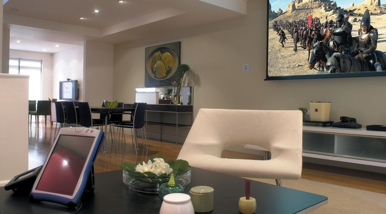 Len Wallis Audio home entertainment system installation interior design, living room, property, real estate, brown, black