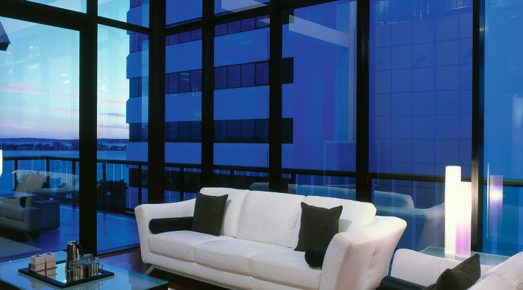 View of the living area blue, ceiling, condominium, daylighting, home, interior design, living room, penthouse apartment, property, real estate, window, blue, gray