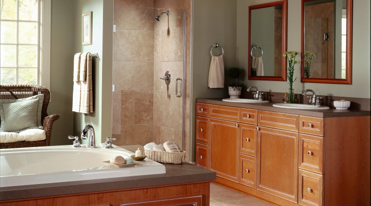 Large traditional bathroom with twin vanities bath and bathroom, bathroom accessory, bathroom cabinet, cabinetry, countertop, cuisine classique, floor, flooring, home, interior design, kitchen, room, brown, gray