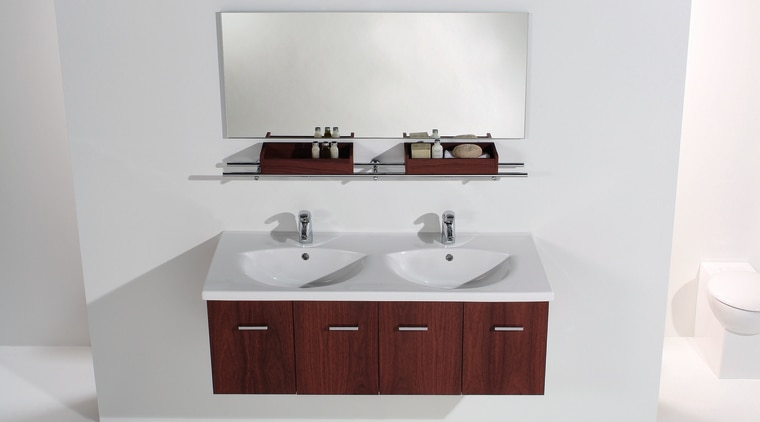 The detail of a vanity area of a bathroom, bathroom accessory, bathroom cabinet, bathroom sink, plumbing fixture, product, product design, sink, tap, white