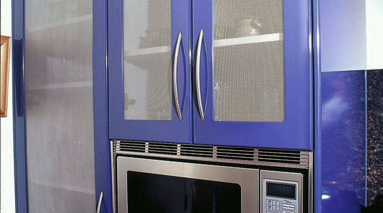 View of the cabinetry & microwave home appliance, major appliance, blue, gray