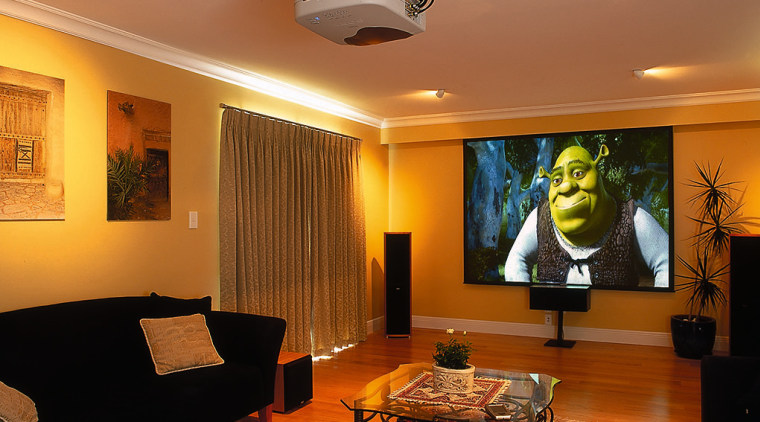 View of the home theatre system ceiling, home, interior design, lighting, living room, real estate, room, wall, brown, orange