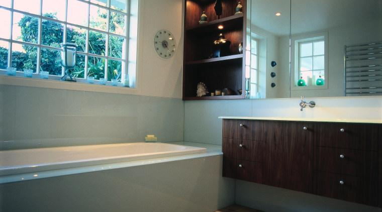 The view of a contemporary bathroom of a bathroom, countertop, floor, home, interior design, room, window, gray, black