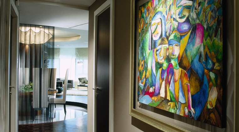 The view of a hallway with artwork. art, interior design, modern art, window, black, gray