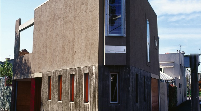 An exterior corner of a house architecture, building, facade, house, neighbourhood, real estate, residential area, sky, black, teal