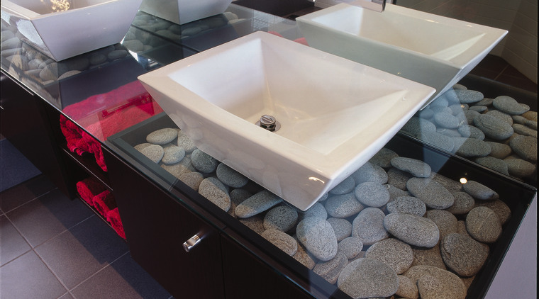 The detail of twin basins bathroom, bathroom sink, ceramic, countertop, floor, plumbing fixture, sink, gray, black