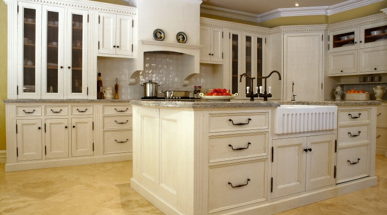 View of large kitchen designed by Scullery & cabinetry, countertop, cuisine classique, floor, flooring, furniture, interior design, kitchen, room, gray, orange