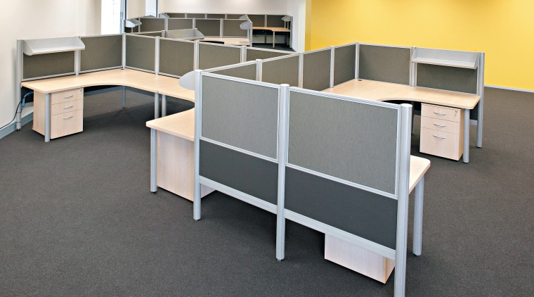 View of modular office furniture desk, floor, flooring, furniture, office, product, product design, shelving, table, gray