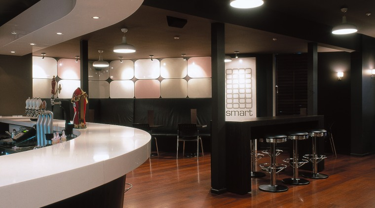 Bar interior with extensive timber flooring shown ceiling, countertop, floor, flooring, hardwood, interior design, kitchen, restaurant, table, wood, wood flooring, black, brown