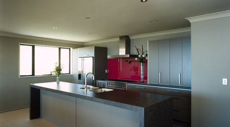 Large kitchen with granite-look laminate benchtops architecture, cabinetry, ceiling, countertop, daylighting, floor, house, interior design, kitchen, real estate, room, gray, brown