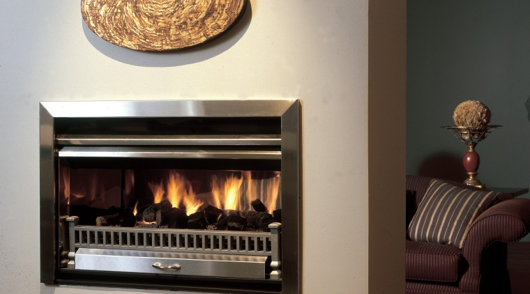 Through Wall Fire from Real Fires fireplace, hearth, interior design, wood burning stove, gray, black