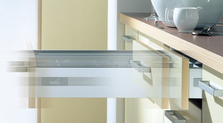 The kitchen's drawer in action countertop, drawer, furniture, kitchen, product, product design, tap, white, yellow