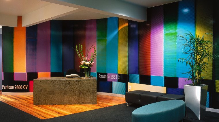 Bright funky colours represent the Pantone colour chart ceiling, interior design, lighting, lobby, wall, black