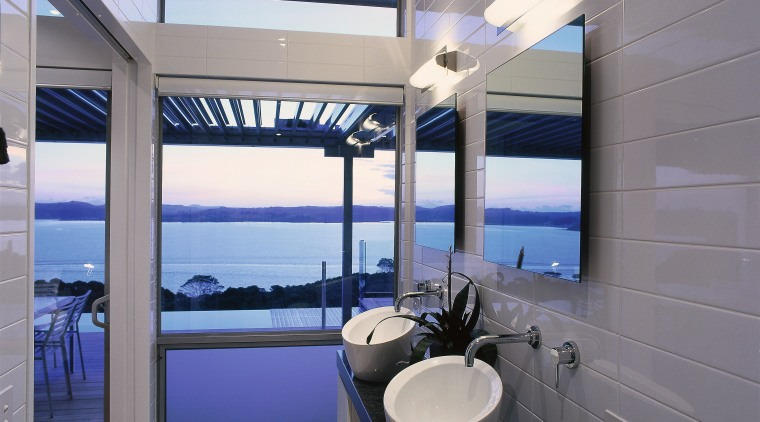 The view of a vanity unit and basins architecture, bathroom, ceiling, interior design, real estate, window, gray
