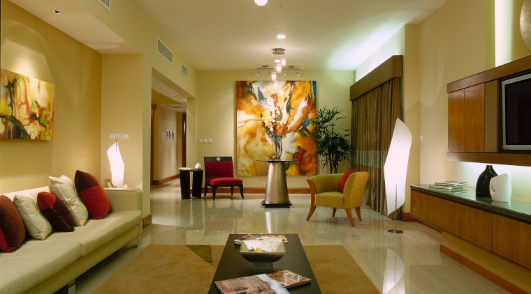 An image of an apartment with furniture, large ceiling, interior design, living room, lobby, real estate, room, brown