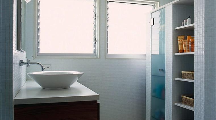 The view of a bathroom featuring a wall bathroom, bathroom accessory, bathroom cabinet, floor, interior design, plumbing fixture, room, sink, gray