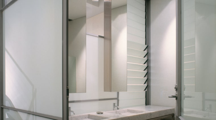 The view through the doorway of a basin architecture, bathroom, ceiling, daylighting, floor, glass, interior design, room, sink, gray