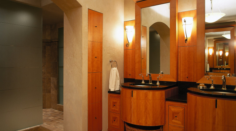 The view of twin basins in a luxurious bathroom, ceiling, floor, flooring, interior design, lobby, real estate, room, brown