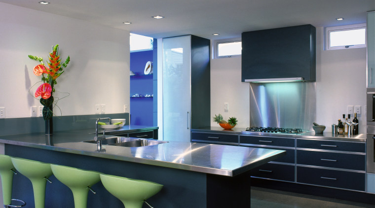 Angled view of the kitchen ceiling, countertop, interior design, kitchen, room, table, gray, black