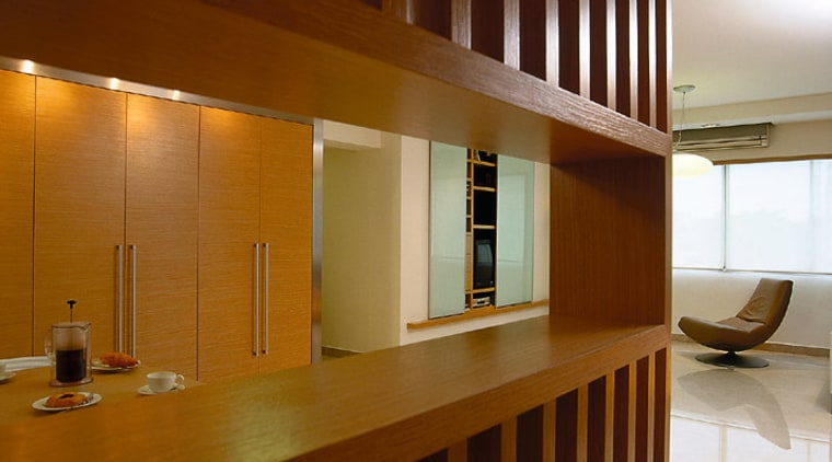 Close-up view of the wooden feature wall, Kitchen architecture, cabinetry, ceiling, flooring, furniture, hardwood, interior design, lobby, wood, brown
