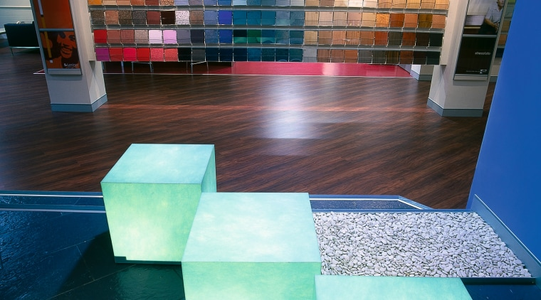 The smooth texture of the electric light cubes architecture, floor, flooring, furniture, glass, hardwood, interior design, table, tile, wood, teal
