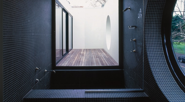 The view of the shower overlooking a patio architecture, daylighting, glass, interior design, window, black