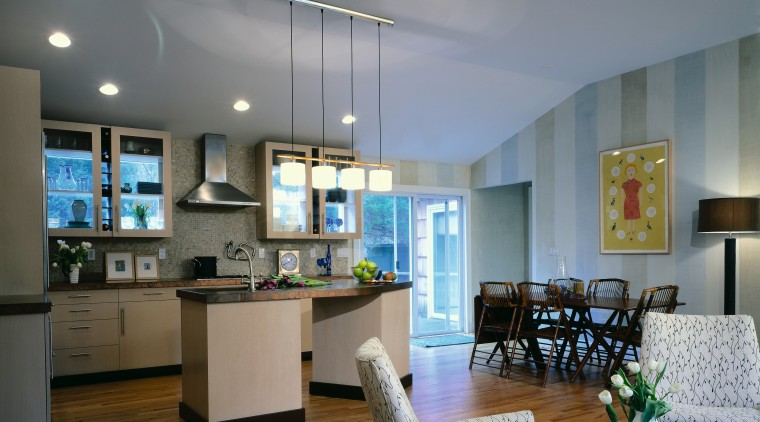 Open-plan kitchen with copper countertops, fawn coloured storage apartment, ceiling, interior design, kitchen, living room, real estate, room, gray