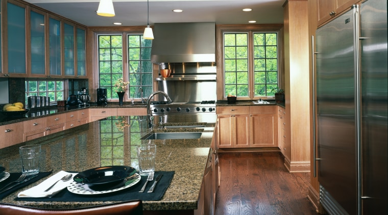 Overall view of this magnificant kitchen, granite countertops, cabinetry, countertop, estate, floor, flooring, hardwood, interior design, kitchen, lobby, real estate, room, black