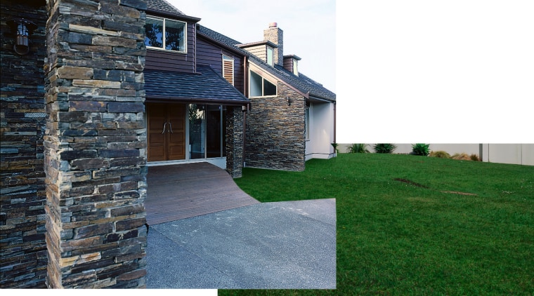 View of entry way featuring stones fron Original cottage, estate, facade, farmhouse, home, house, property, real estate, residential area, siding, wall, yard, white