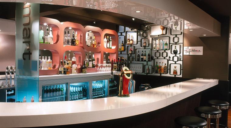 Close up of feature wall behind the bar bar, interior design, restaurant, black