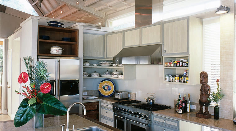 Overview of the kitchen, brown granite benchtops, stainless countertop, interior design, kitchen, loft, real estate, gray