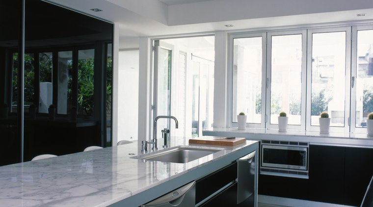 View of the large kitchen cabinetry, countertop, interior design, kitchen, real estate, window, gray, black