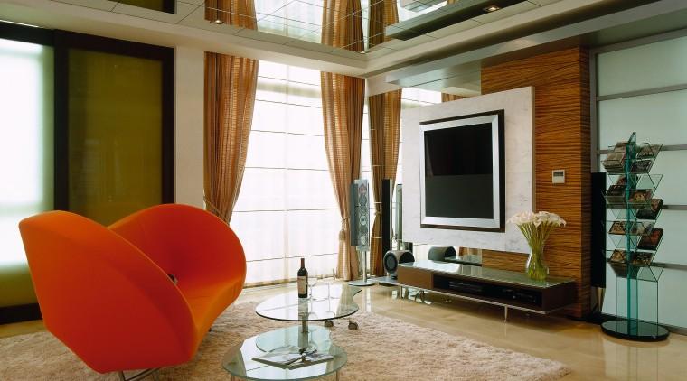 Living room with orange sofa and two tiered ceiling, floor, flooring, furniture, hardwood, home, house, interior design, living room, loft, room, table, window, wood flooring, brown