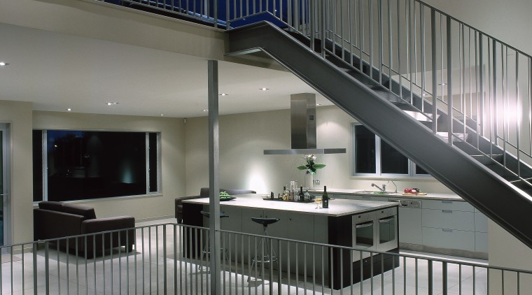 view of the openplane living area architecture, daylighting, glass, handrail, house, interior design, stairs, gray, black