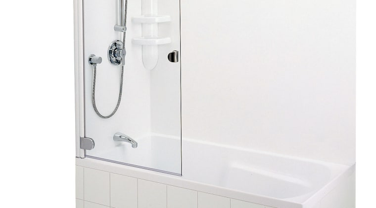 Shower over white bath with shower mixer. angle, bathroom sink, plumbing fixture, product, product design, tap, white