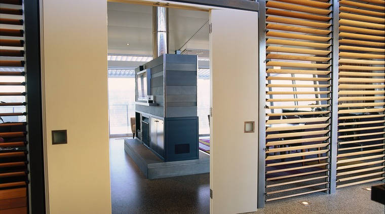 View of the partition between the living and architecture, daylighting, door, interior design, real estate, window, window covering, gray