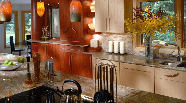 Kitchen featuring cabinetry with St Charles maple and cabinetry, countertop, interior design, kitchen, room, brown