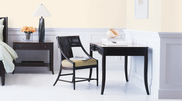 View of the furniture from Mcguire's chair, desk, floor, furniture, office, product, product design, table, white